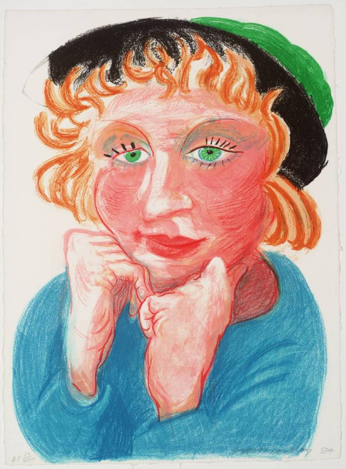 Celia with Green Hat 1984 by David Hockney born 1937