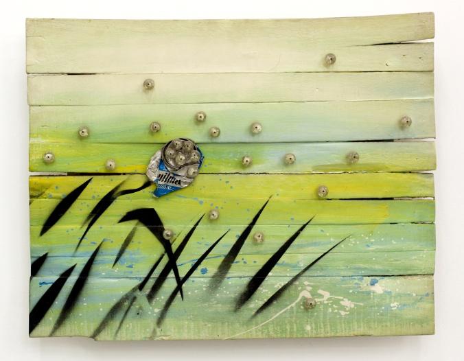 Alfredo Londaibere. Sin título. Quilmes, 1994 Técnica mixta. Esmalte sobre madera con collage de materiales. 57 x 72 cm Cortesía de Col. Gustavo Bruzzone