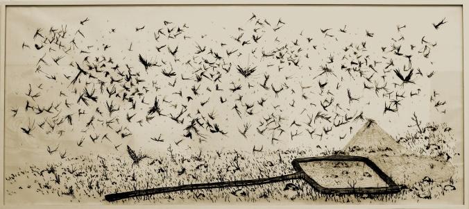 Matías Duville. Sin título. 2007-08 Carbonilla sobre papel. 150 x 240 cm Cortesía de Col. Esteban Tedesco.