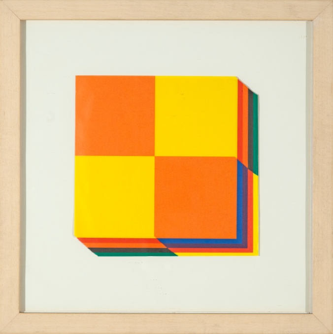 Daniel Joglar. Two-Tone Squares, 2007 Papeles impresos apilados. 17 x 17 cm.